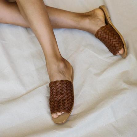 St.Agni - Corfu Woven Slides - Vintage Tan