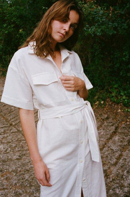Robe chemise en lin blanc - Wilder Shores