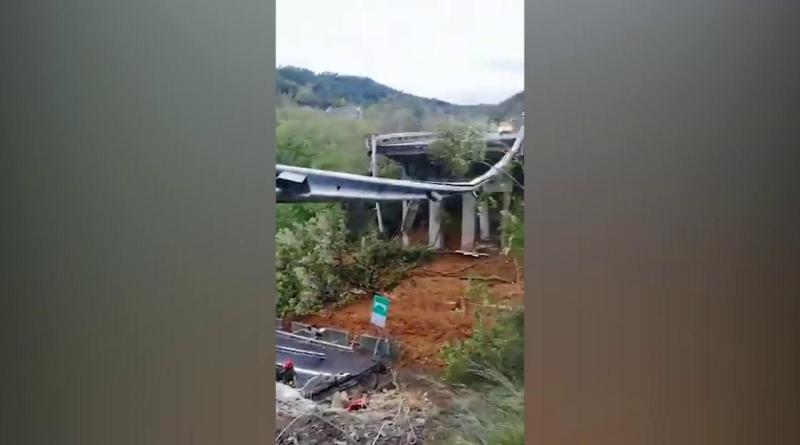 Maltempo Piemonte, crolla viadotto sulla Torino-Savona