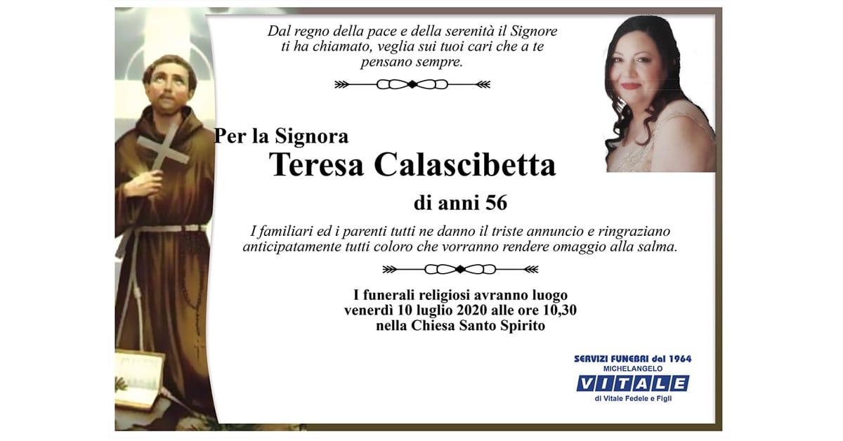 Ringraziamento Teresa Calascibetta