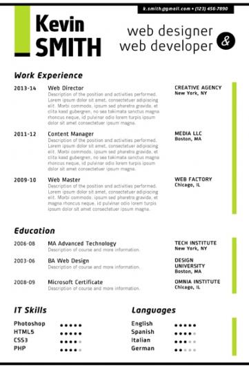 free microsoft word web designer resume template