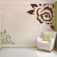 Corner Rose Vinyl Wall Art Design   Trendy Wall Designs