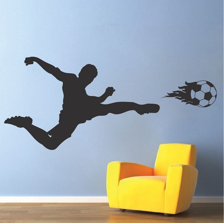 soccer flame wall decal sport mual stickers trendy wall designs