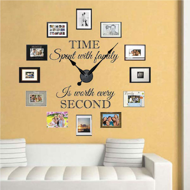 real family clock wall decal clock stickers for walls trendy