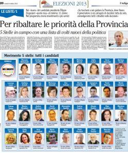 Candidati di lista M5S per elezioni provinciali 2013