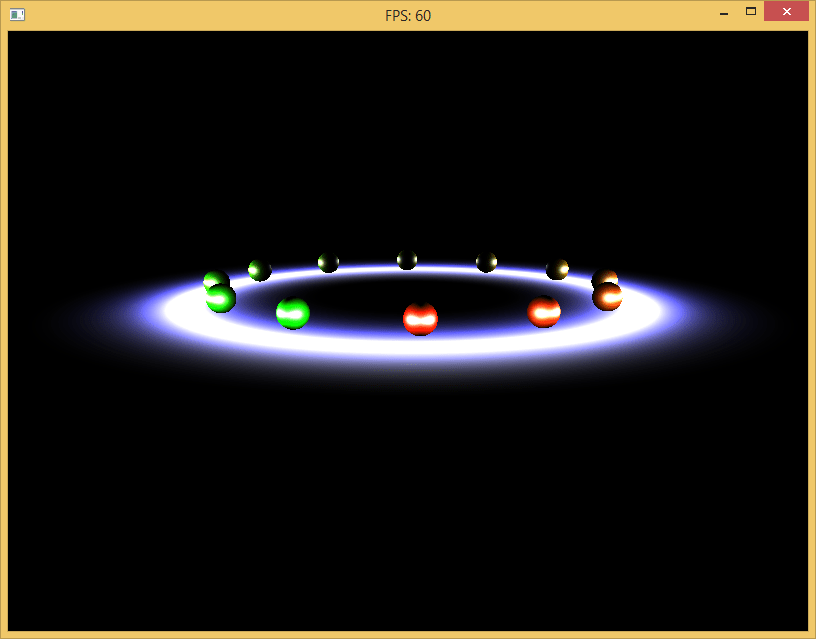 Rendering only the light pass with 100 lights of radius 10 in a ring.