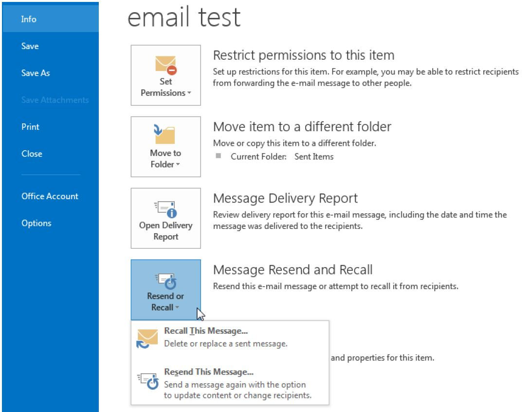 Outlook - Resend or Recall an email - Information Technology - Trent University