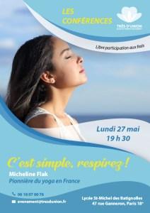 """Conférence de Micheline Flak """"C'est simple, respirez !"""" @ Lycée Saint-Michel des Batignolles"""