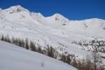 La Cima Malgina 2877 m a sx e la Cima dei Laghi 2794 m durante la salita al Piz Cancan.