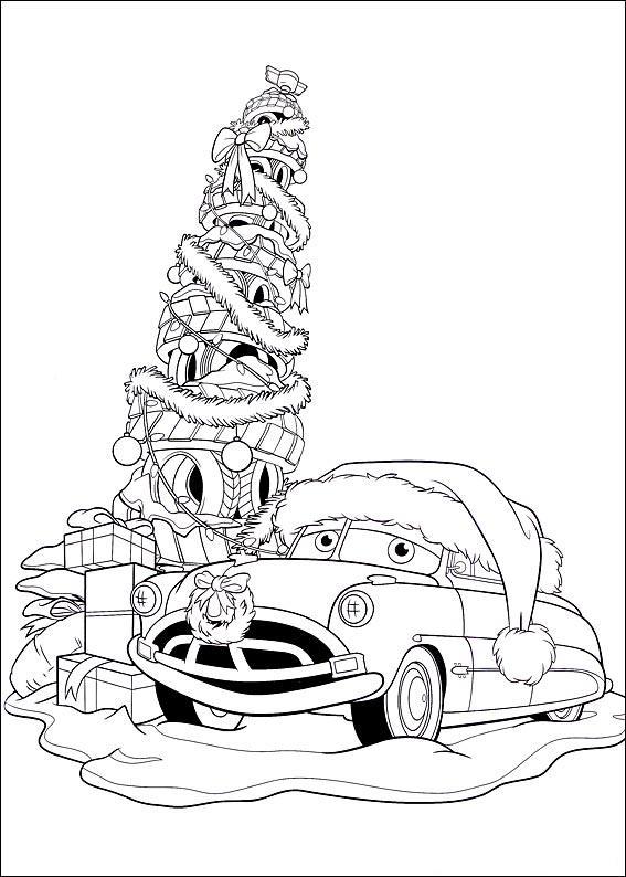 coloriage à imprimer gratuit : cars le sapin de roue de noel