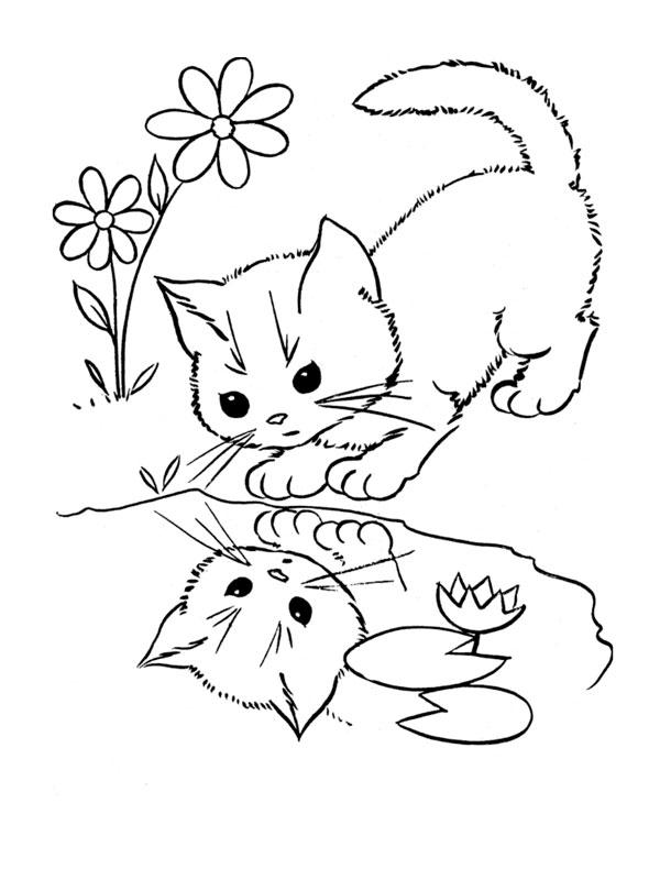 Dessins de chatons avec leures mères à imprimer
