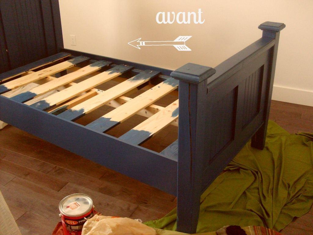 repeindre un lit en bois vernis