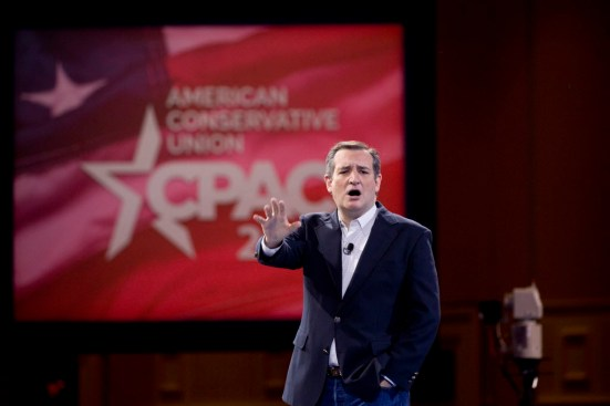 Sen. Ted Cruz, a Republican presidential hopeful, speaks during the 2016 Conservative Political Action Conference in National Harbor, Md., March 4, 2016. The four-day conference to unite the political leaders of the conservative movement continues through Saturday. (Stephen Crowley/The New York Times)