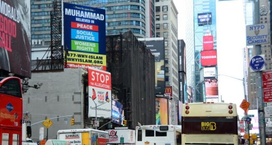 Sign posted in Times Square by whyislam.org