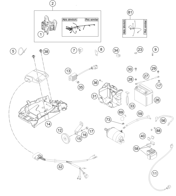 KTM fiche finder WIRING HARNESS spare parts for the KTM