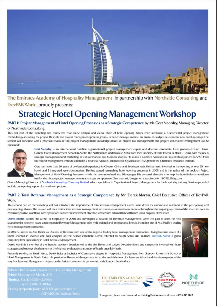 Strategic Hotel Opening Management Workshop Dubai
