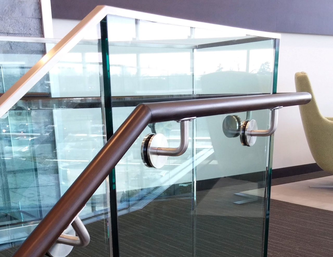 Base Shoe Glass Railing T Mobile Arena Trex Commercial Products   Wooden Handrail With Glass   Contemporary Wood Glass   Oak   Timber   Staircase   Steel