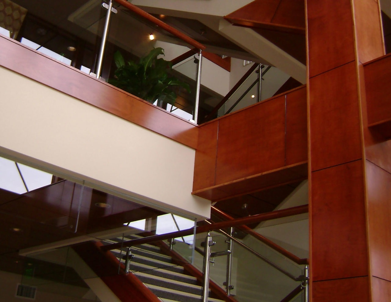 Monaco Post Supported Glass Railing Trex Commercial Products | Stainless Steel Staircase Railing With Glass | Thin Glass | Stairway | Tempered Glass | Handrail | Banister