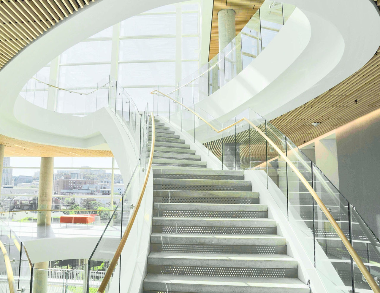 Base Shoe Commercial Glass Railing Trex Commercial Products   Glass Panel Stair Railing   Toughened   Square   Framed Glass   Staircase   Banister