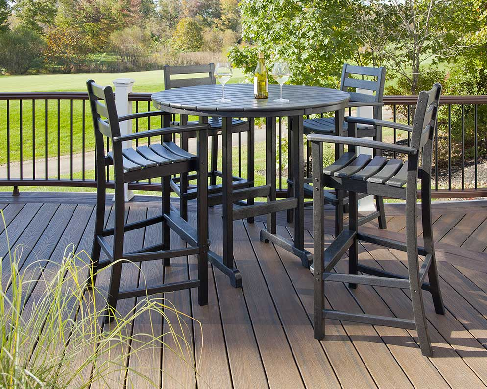 bar height table and chairs outdoor revolving chair metal base get the right for stools trex furniture monterey bay