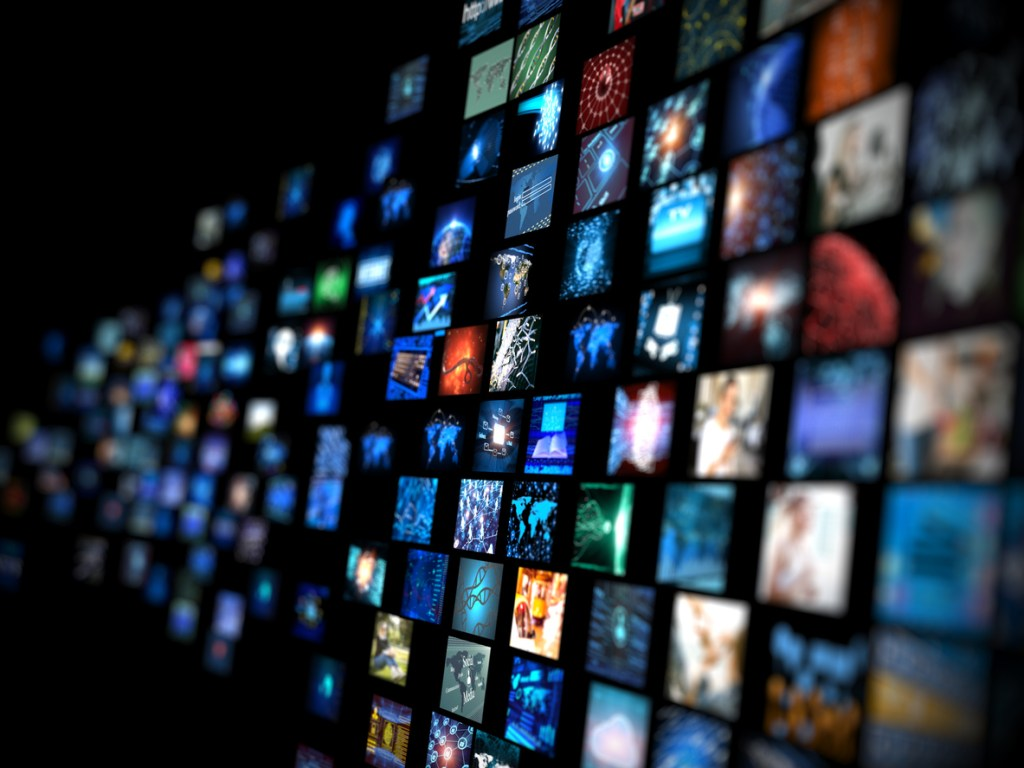 Digital Media concept Wall of screens smart TV