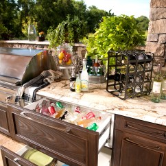 Outdoor Kitchen Storage Stainless Steel Sink With Drainboard Kitchens And More  Trex