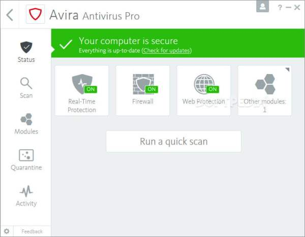 Avira Antivirus interface2 Antivirusni programi