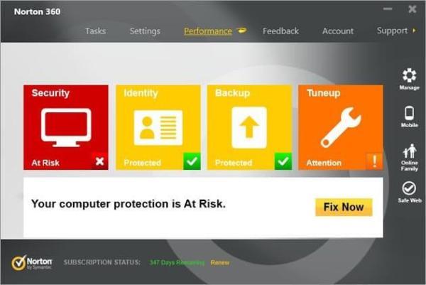 Norton360 interface Antivirusni programi