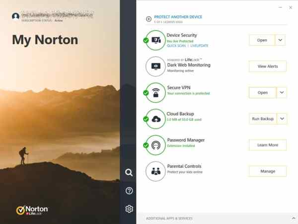 Norton360 interface2 Antivirusni programi