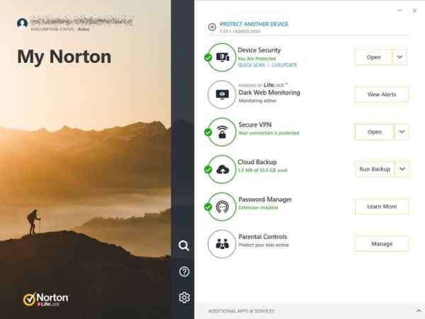 Norton360 interface2 Antivirusni programi