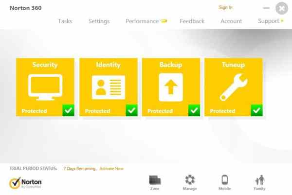 Norton360 interface4 Antivirusni programi