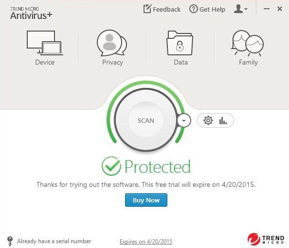 Trendmicro interface Antivirusni programi