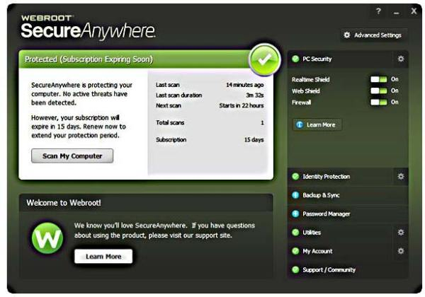webroot interface2 Antivirusni programi