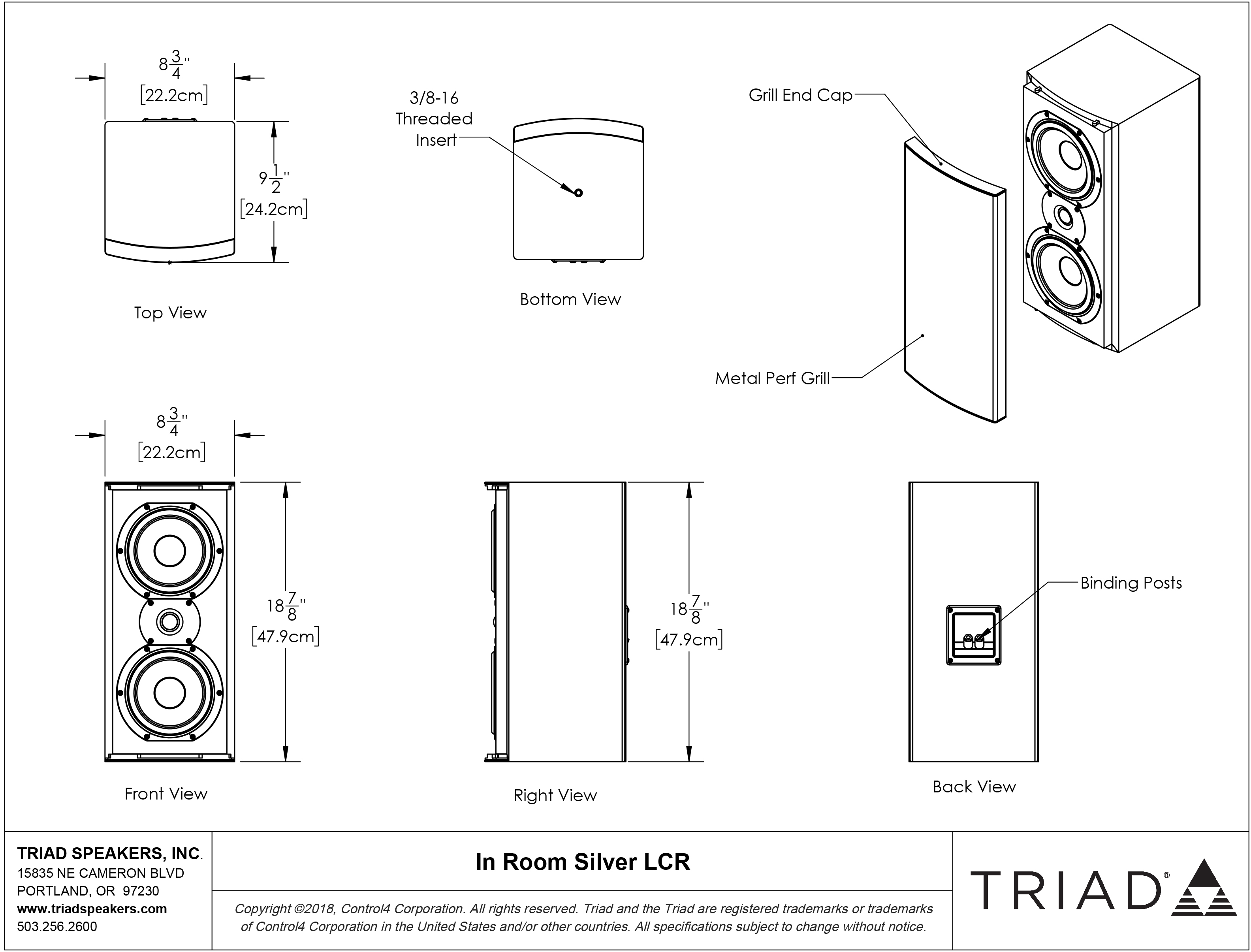 Inroom Silver Lcr Triad Speakers Online