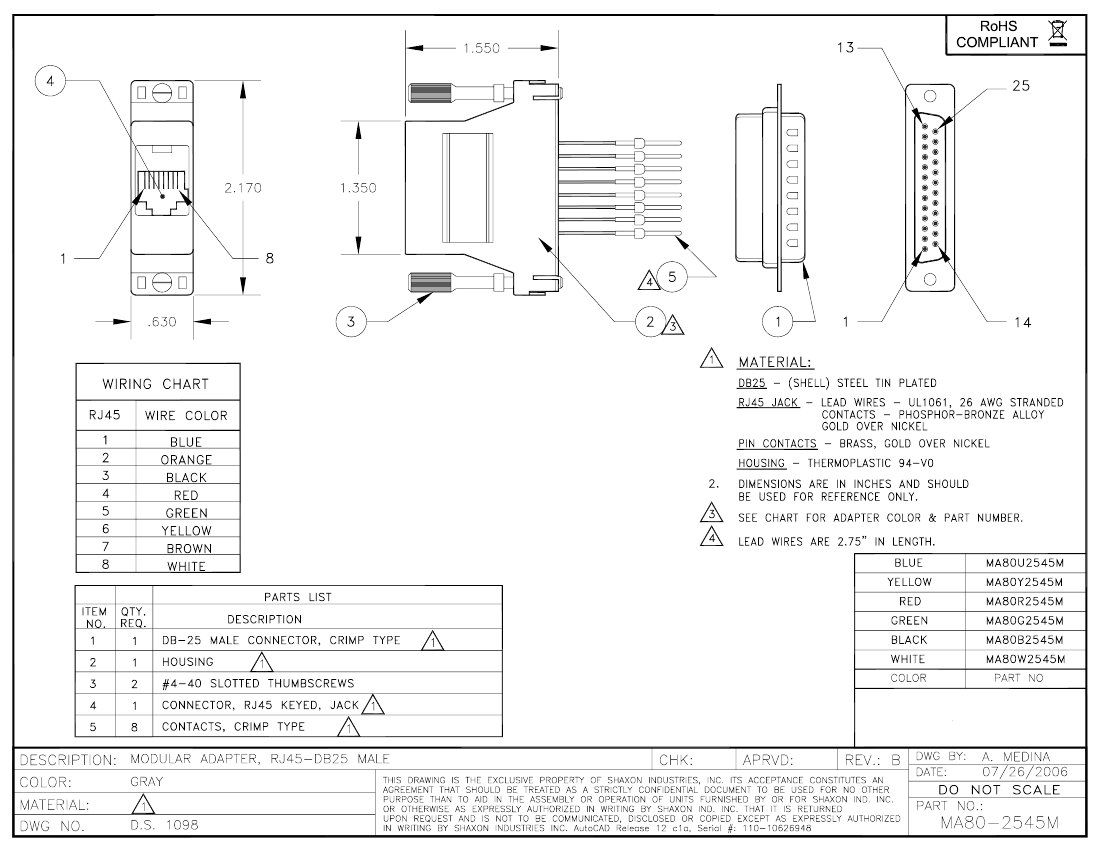 Db25 Male To Rj45 Female Modular Adapter Kit