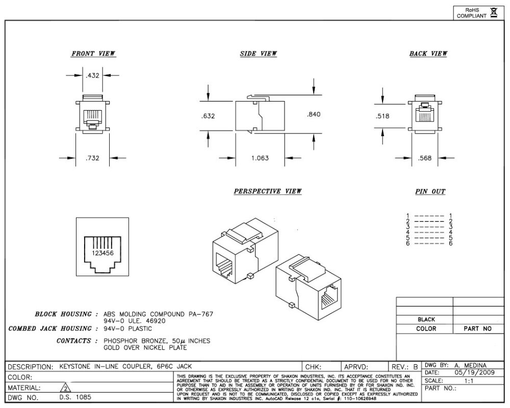 medium resolution of rj12 f f coupler keystone white trianglecables com cat 6 jack wiring diagram keystone fifth wheel wiring
