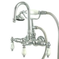 Kingston Brass Wall Mount ClawFoot Tub Faucet With Hand ...