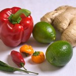 Lime chilies pepper and ginger
