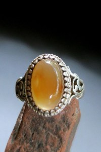 Large Vintage Men's Silver and Carnelian Ring - Aqeeq Yamani