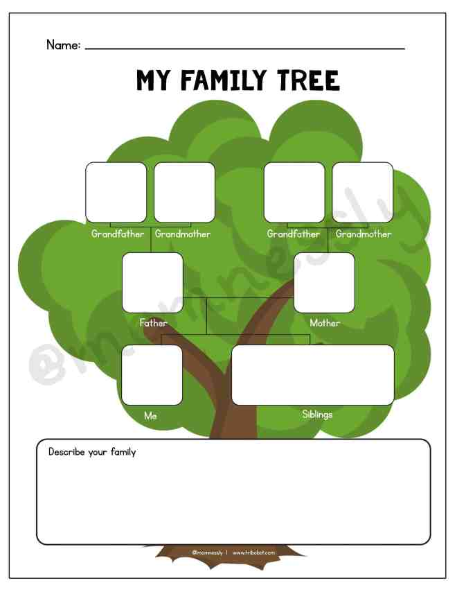 Free Printable: All about My Family Worksheets