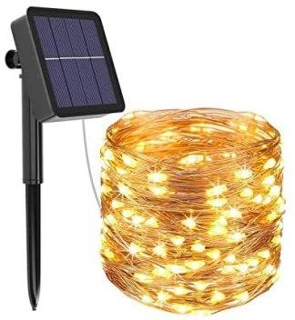 Guirnalda de luces exterior solar - 12 metros 120 led 8 modos