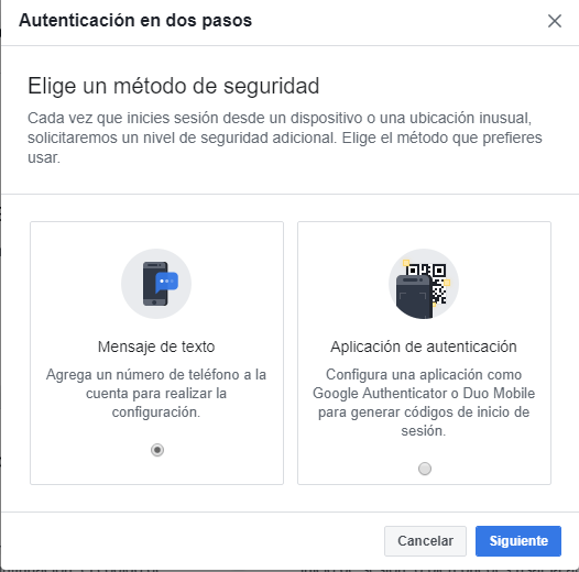 facebook doble factor