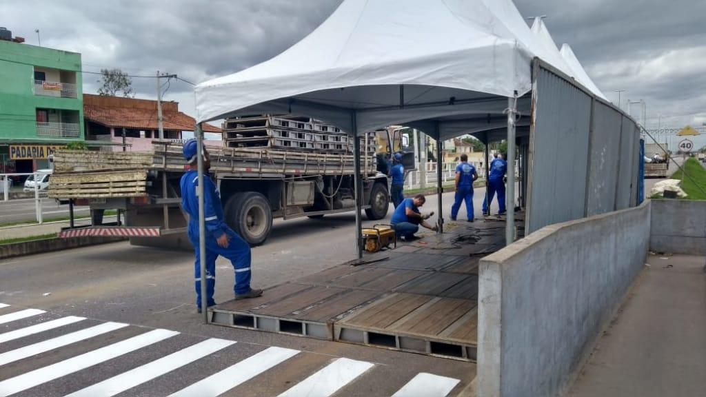 Terminal de Quintanilha é desmontado; a polícia acompanha
