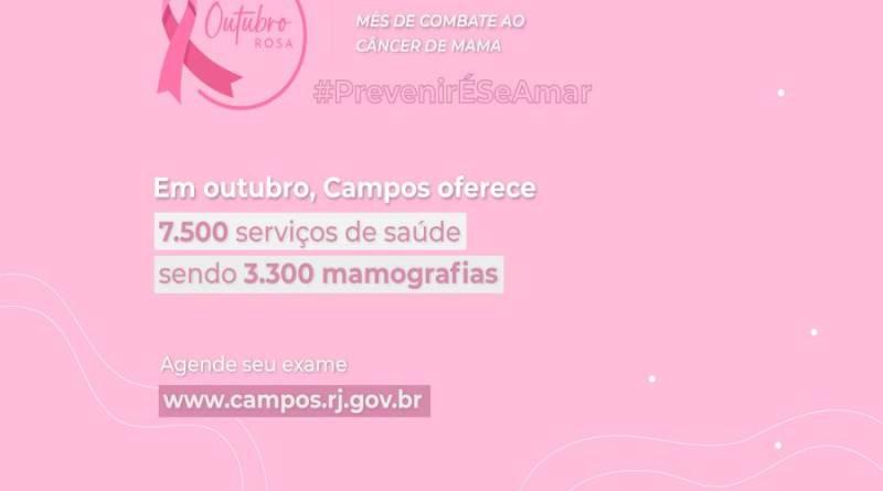 Outubro Rosa: Campos libera agendamento online para exames de mamografia