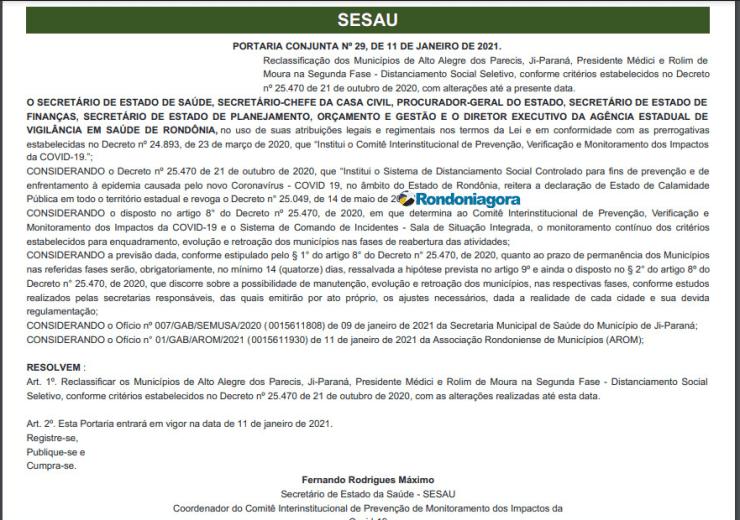 Governo volta atrás e reclassifica Rolim de Moura, Alta Floresta e outros 2 municípios para Fase 02