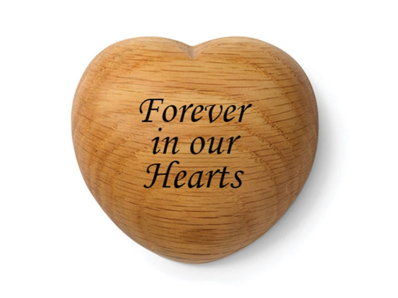 Our Tribute Heart keepsake can be engraved with your pet's name