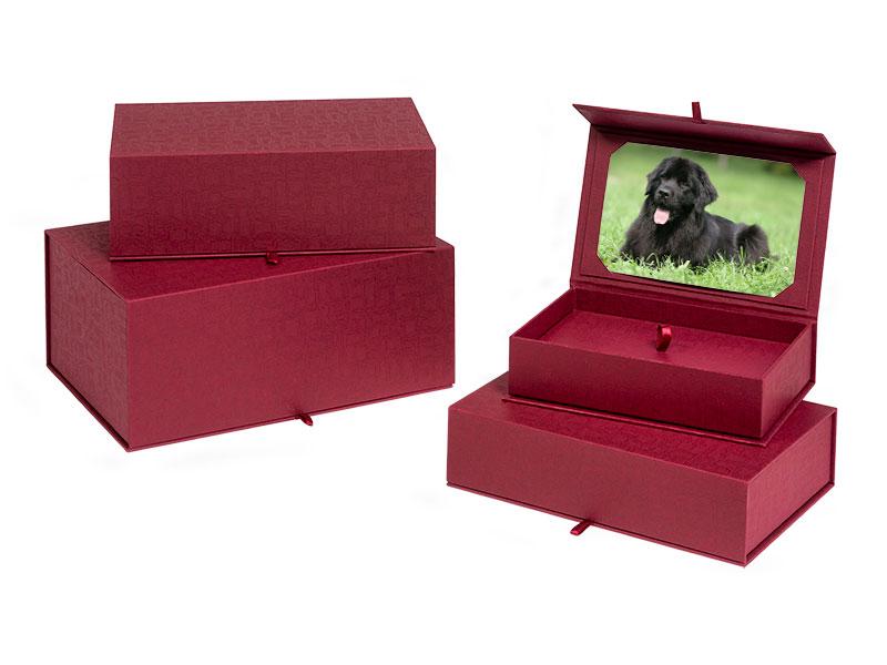 Beautiful eco cardboard casket ashes urn. Pet urns for dog, cat or horse keepsake and memorials.