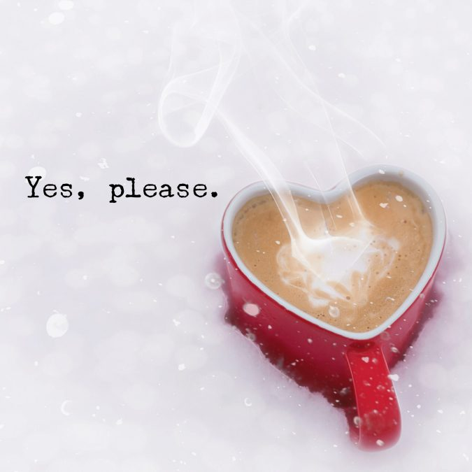 Drinking Coffee on a Snowy Day