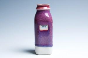"Small Raspberry ""Love"" Milk Bottle"