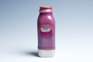 "Small Raspberry ""Happy"" Milk Bottle"